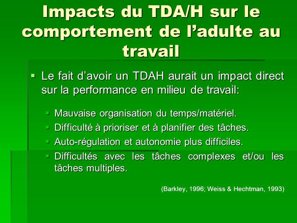 Impacts du TDA/H sur le comportement de ladulte au travail Le fait davoir un TDAH aurait un impact direct sur la performance en milieu de travail: Le fait davoir un TDAH aurait un impact direct sur la performance en milieu de travail: Mauvaise organisation du temps/matériel.