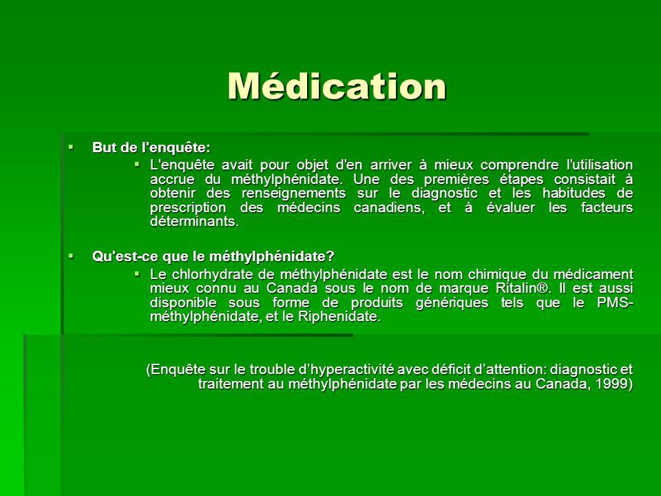 Médication But de l'enquête: But de l'enquête: L'enquête avait pour objet d'en arriver à mieux comprendre l'utilisation accrue du méthylphénidate. Une