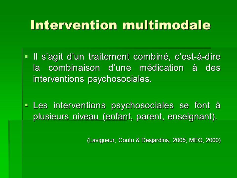 Intervention multimodale Il sagit dun traitement combiné, cest-à-dire la combinaison dune médication à des interventions psychosociales.