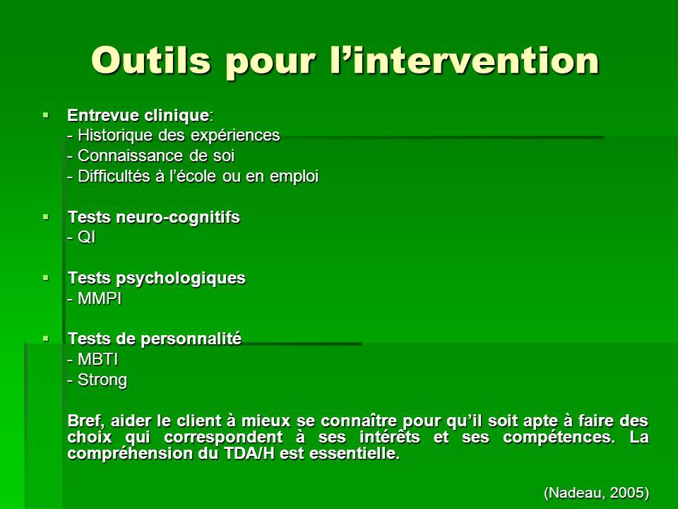 Outils pour lintervention Entrevue clinique: Entrevue clinique: - Historique des expériences - Connaissance de soi - Difficultés à lécole ou en emploi