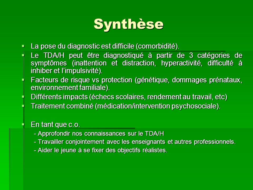 Synthèse La pose du diagnostic est difficile (comorbidité). La pose du diagnostic est difficile (comorbidité). Le TDA/H peut être diagnostiqué à parti