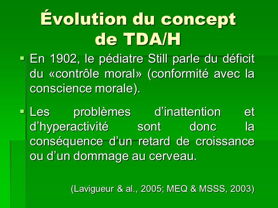 Évolution du concept de TDA/H En 1902, le pédiatre Still parle du déficit du «contrôle moral» (conformité avec la conscience morale). En 1902, le pédi