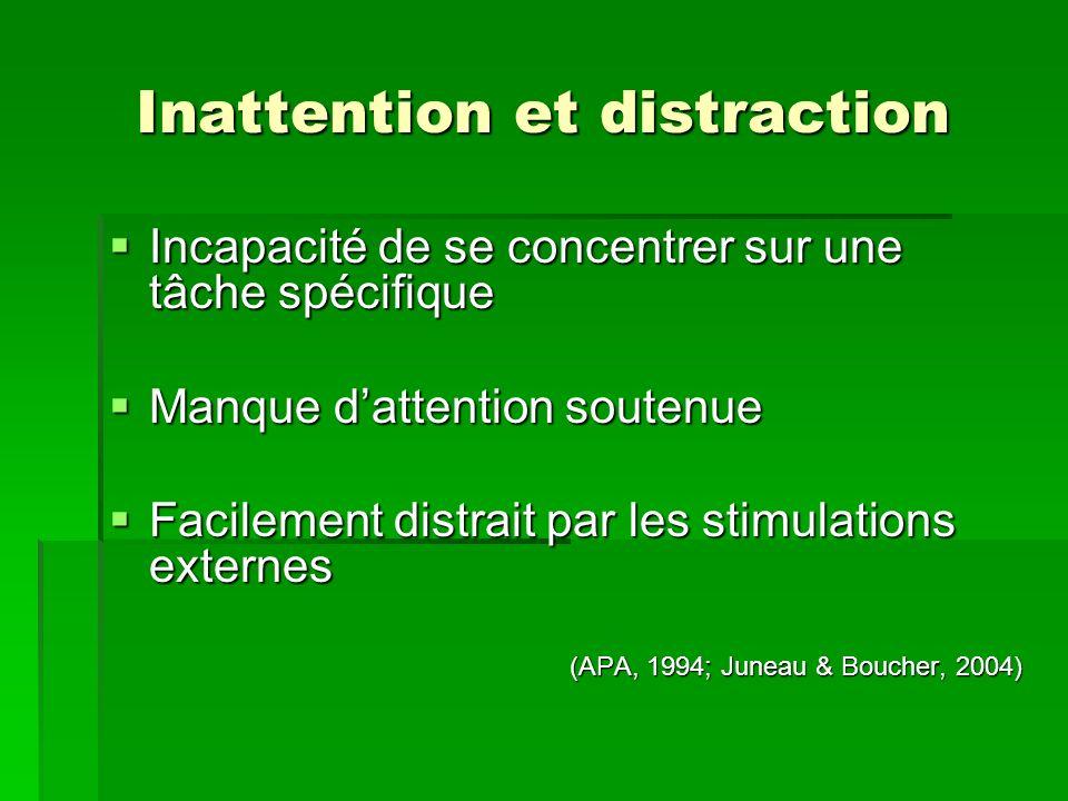 Inattention et distraction Incapacité de se concentrer sur une tâche spécifique Incapacité de se concentrer sur une tâche spécifique Manque dattention soutenue Manque dattention soutenue Facilement distrait par les stimulations externes Facilement distrait par les stimulations externes (APA, 1994; Juneau & Boucher, 2004)