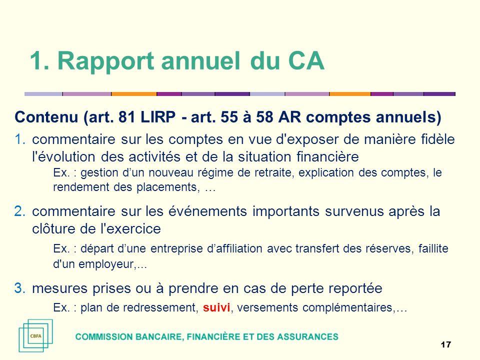 1. Rapport annuel du CA Contenu (art. 81 LIRP - art. 55 à 58 AR comptes annuels) 1.commentaire sur les comptes en vue d'exposer de manière fidèle l'év