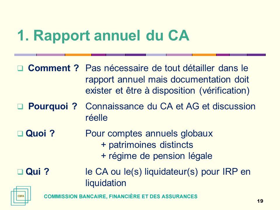 1. Rapport annuel du CA Comment ? Pas nécessaire de tout détailler dans le rapport annuel mais documentation doit exister et être à disposition (vérif