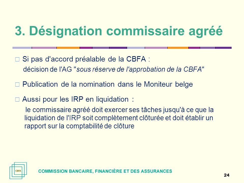 3. Désignation commissaire agréé Si pas d'accord préalable de la CBFA : décision de l'AG