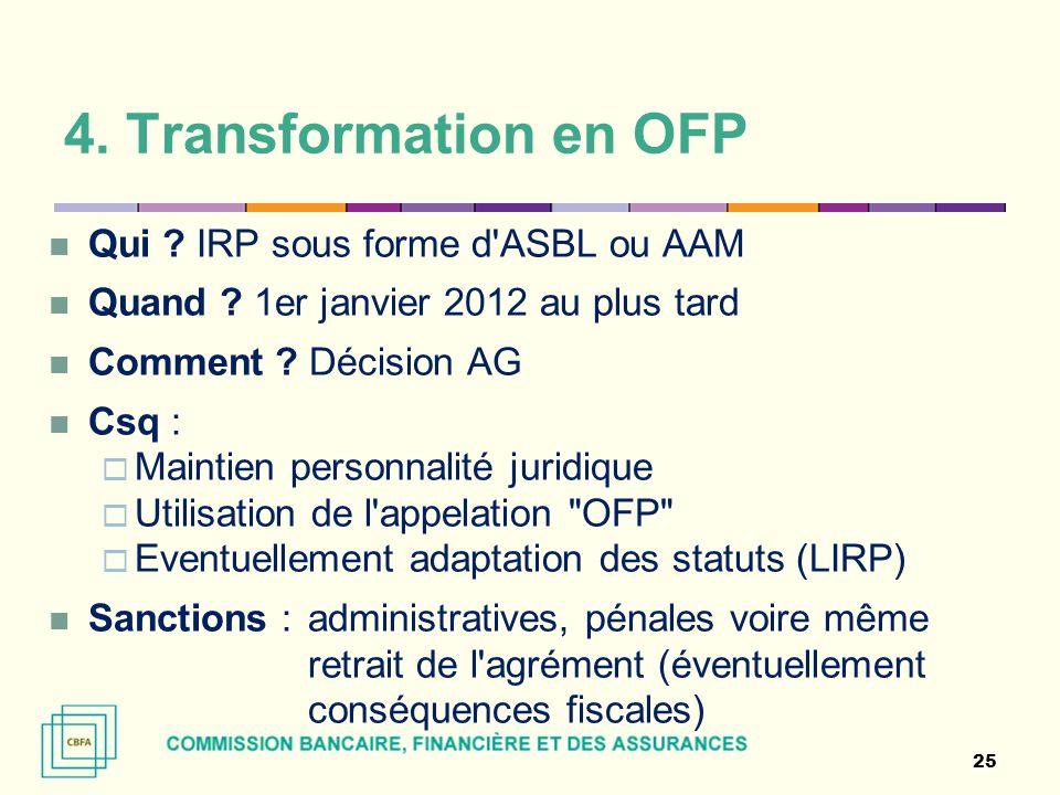 4. Transformation en OFP Qui ? IRP sous forme d'ASBL ou AAM Quand ? 1er janvier 2012 au plus tard Comment ? Décision AG Csq : Maintien personnalité ju
