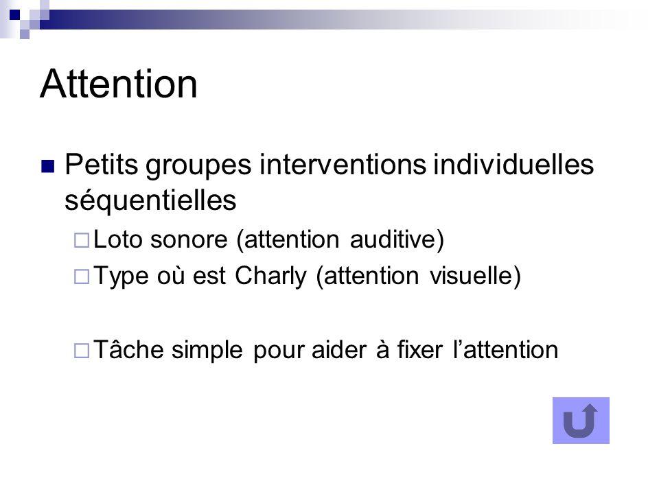 Attention Petits groupes interventions individuelles séquentielles Loto sonore (attention auditive) Type où est Charly (attention visuelle) Tâche simp