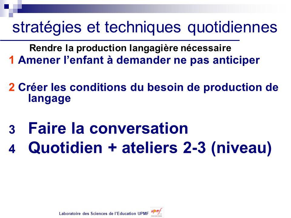 1 Amener lenfant à demander ne pas anticiper 2 Créer les conditions du besoin de production de langage 3 Faire la conversation 4 Quotidien + ateliers