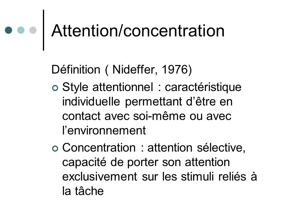 Attention/concentration Définition ( Nideffer, 1976) Style attentionnel : caractéristique individuelle permettant dêtre en contact avec soi-même ou av
