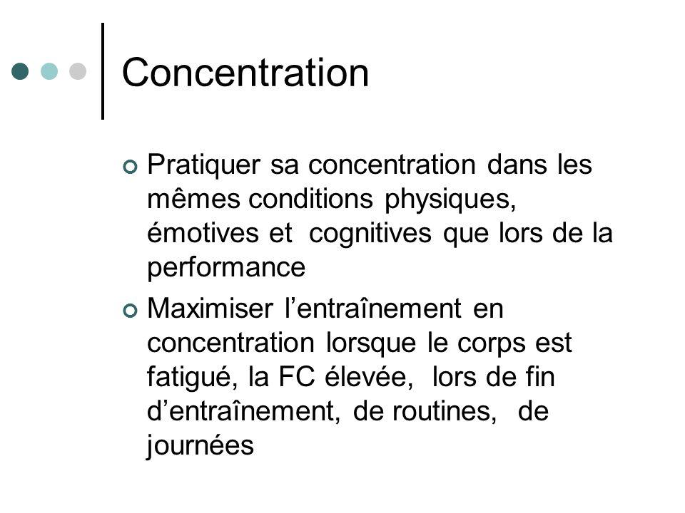 Concentration Pratiquer sa concentration dans les mêmes conditions physiques, émotives et cognitives que lors de la performance Maximiser lentraînemen