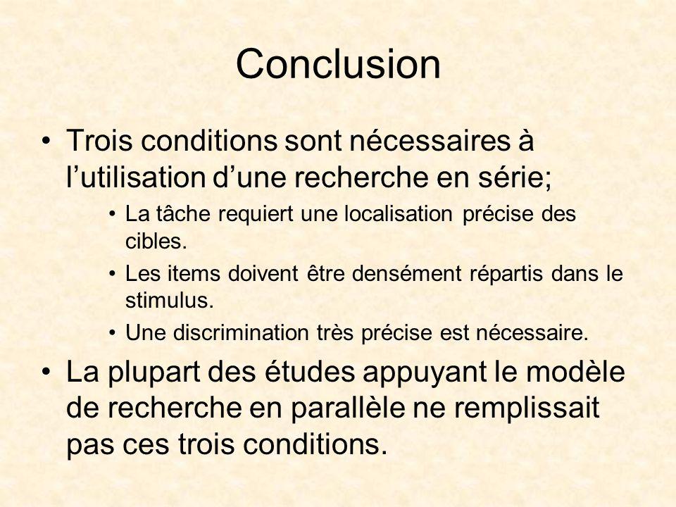 Conclusion Trois conditions sont nécessaires à lutilisation dune recherche en série; La tâche requiert une localisation précise des cibles.