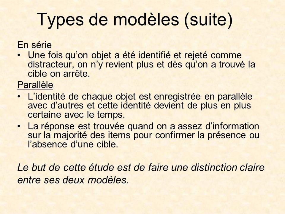 Types de modèles (suite) Une fois quon objet a été identifié et rejeté comme distracteur, on ny revient plus et dès quon a trouvé la cible on arrête.