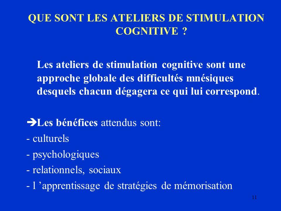 11 QUE SONT LES ATELIERS DE STIMULATION COGNITIVE ? Les ateliers de stimulation cognitive sont une approche globale des difficultés mnésiques desquels