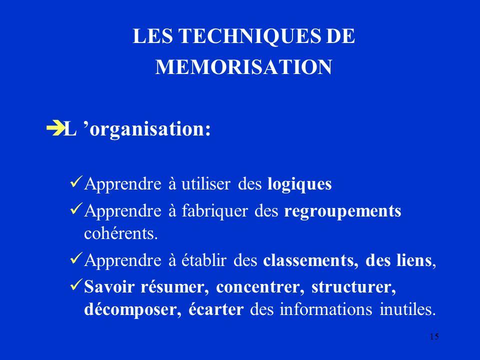 15 LES TECHNIQUES DE MEMORISATION L organisation: Apprendre à utiliser des logiques Apprendre à fabriquer des regroupements cohérents. Apprendre à éta