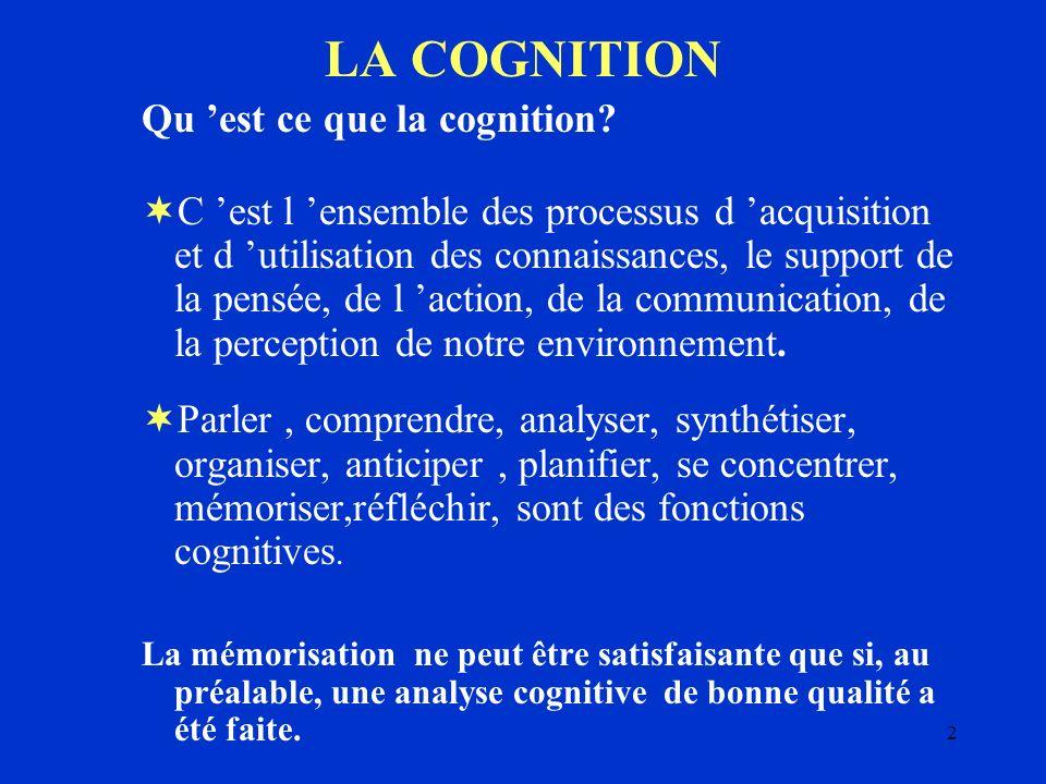2 LA COGNITION Qu est ce que la cognition? C est l ensemble des processus d acquisition et d utilisation des connaissances, le support de la pensée, d