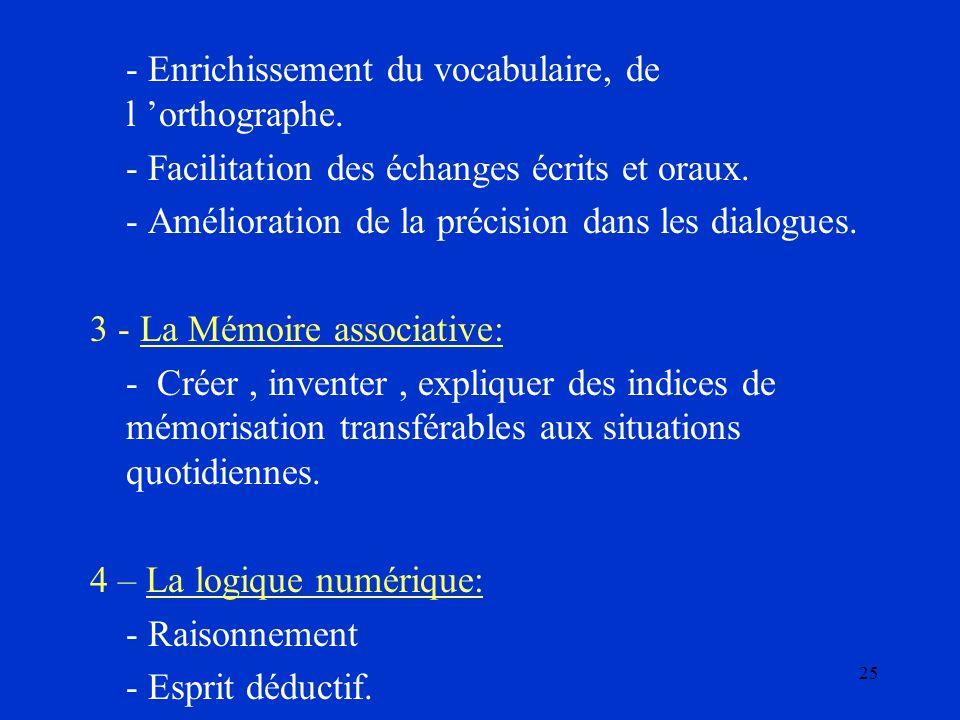 25 - Enrichissement du vocabulaire, de l orthographe. - Facilitation des échanges écrits et oraux. - Amélioration de la précision dans les dialogues.