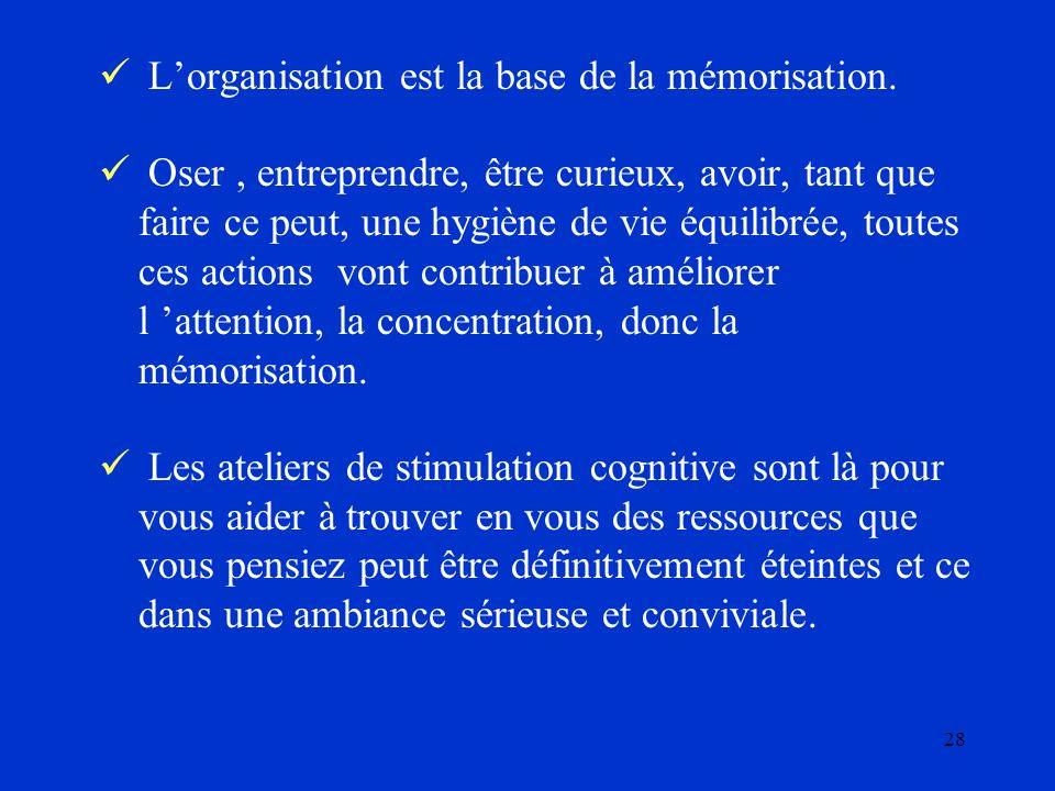 28 Lorganisation est la base de la mémorisation. Oser, entreprendre, être curieux, avoir, tant que faire ce peut, une hygiène de vie équilibrée, toute