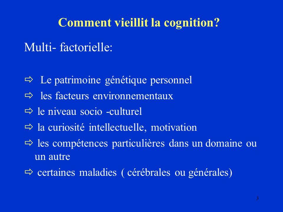 3 Comment vieillit la cognition? Multi- factorielle: Le patrimoine génétique personnel les facteurs environnementaux le niveau socio -culturel la curi