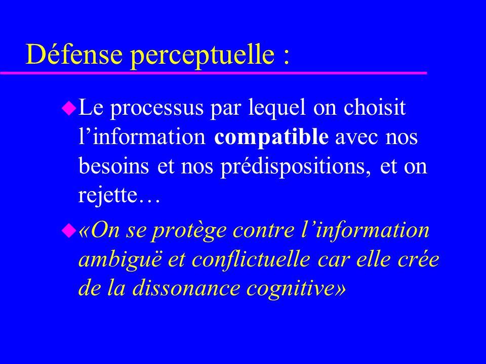 Défense perceptuelle : u Le processus par lequel on choisit linformation compatible avec nos besoins et nos prédispositions, et on rejette… u «On se p