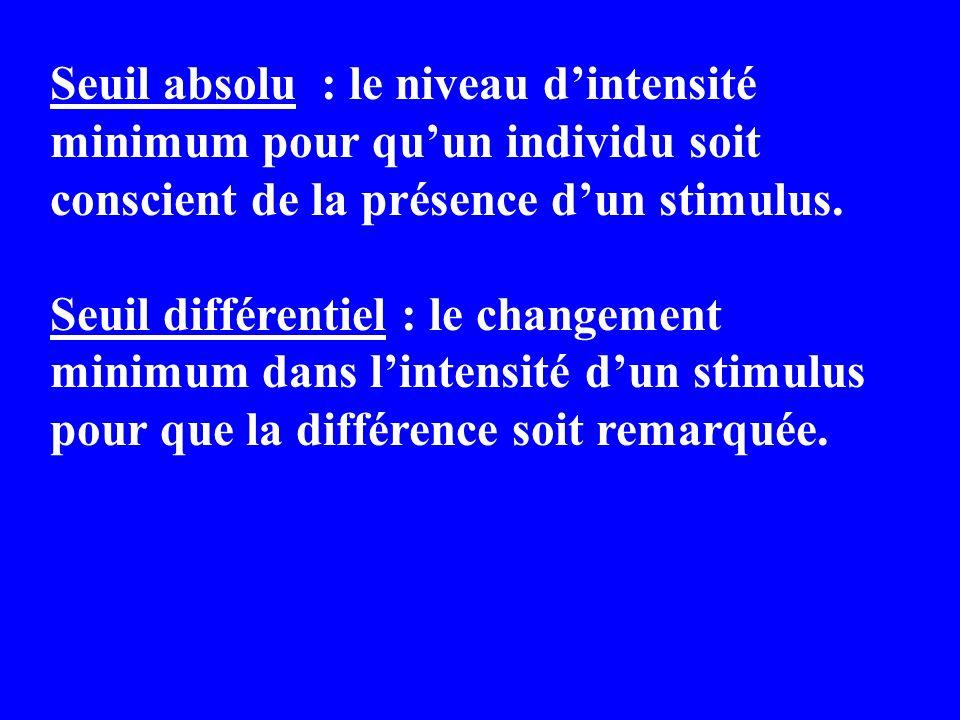 Seuil absolu : le niveau dintensité minimum pour quun individu soit conscient de la présence dun stimulus. Seuil différentiel : le changement minimum