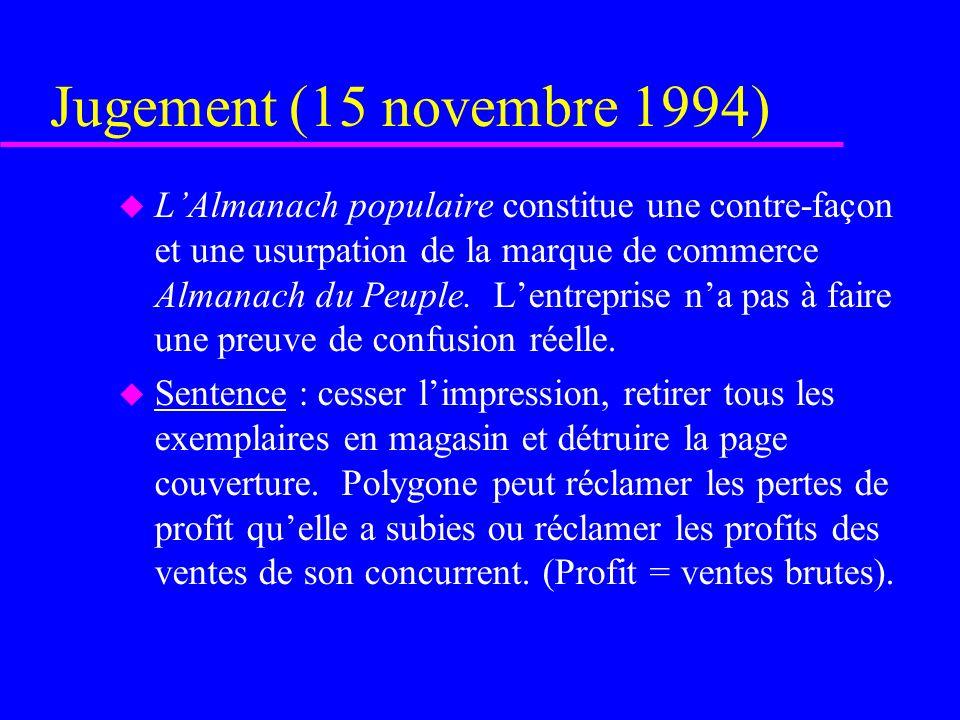 Jugement (15 novembre 1994) u LAlmanach populaire constitue une contre-façon et une usurpation de la marque de commerce Almanach du Peuple. Lentrepris
