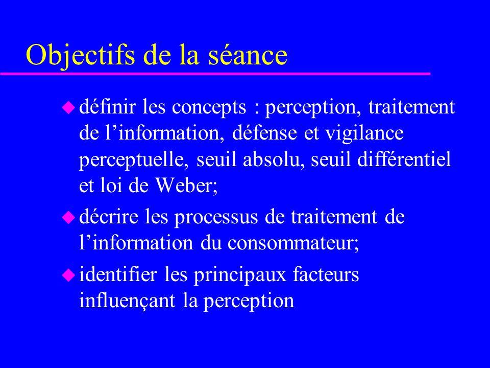 Objectifs de la séance u définir les concepts : perception, traitement de linformation, défense et vigilance perceptuelle, seuil absolu, seuil différe