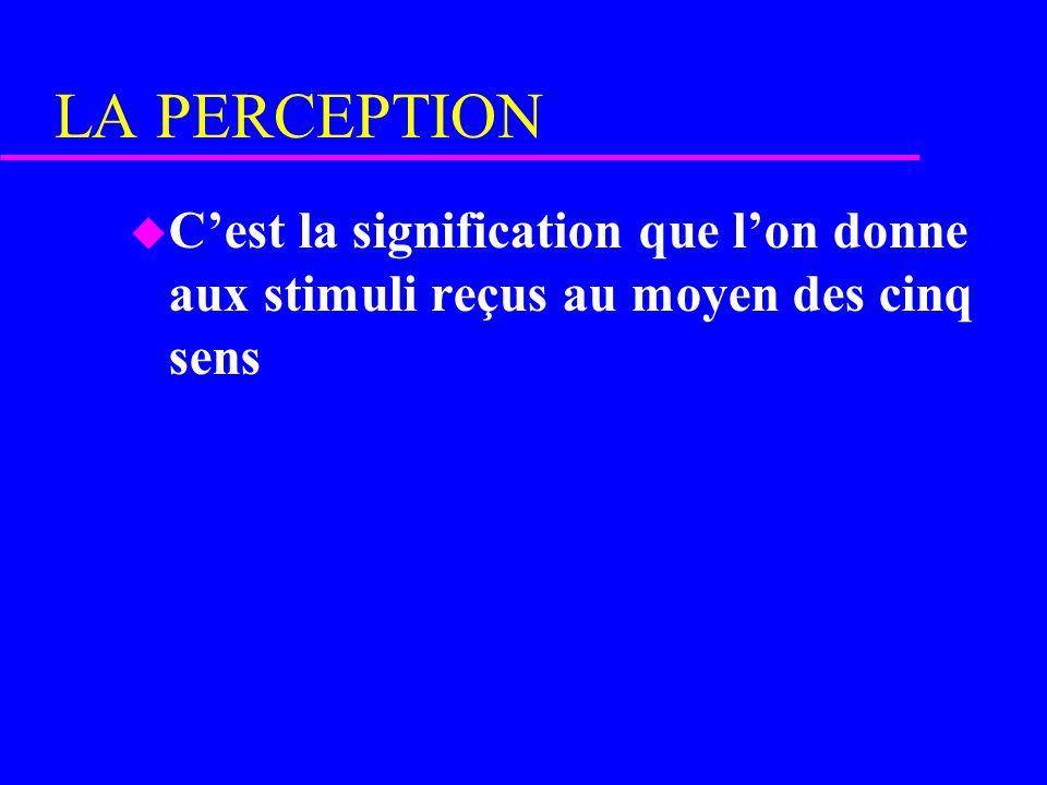 LA PERCEPTION u Cest la signification que lon donne aux stimuli reçus au moyen des cinq sens
