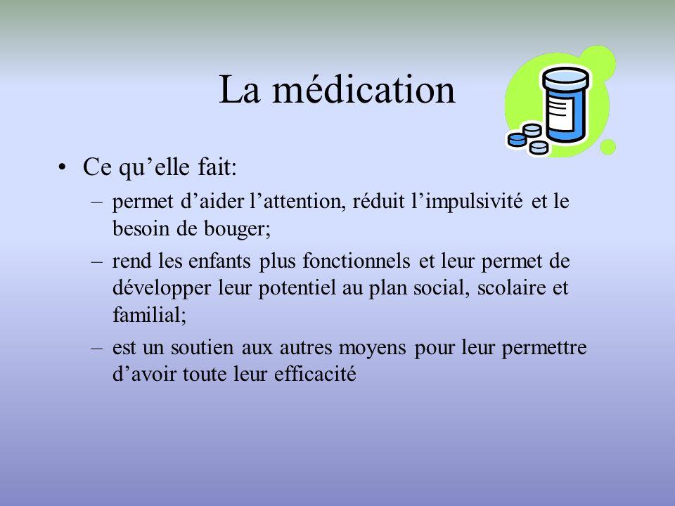 La médication Ce quelle fait: –permet daider lattention, réduit limpulsivité et le besoin de bouger; –rend les enfants plus fonctionnels et leur perme