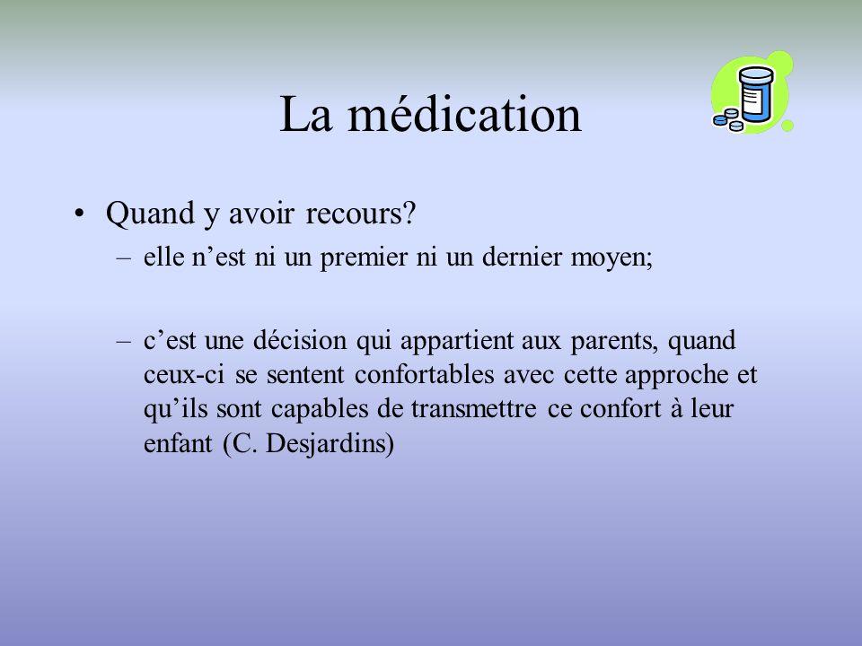 La médication Quand y avoir recours? –elle nest ni un premier ni un dernier moyen; –cest une décision qui appartient aux parents, quand ceux-ci se sen