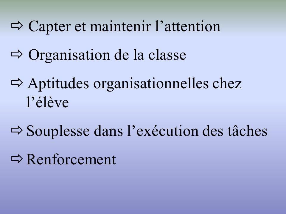 Capter et maintenir lattention Organisation de la classe Aptitudes organisationnelles chez lélève Souplesse dans lexécution des tâches Renforcement