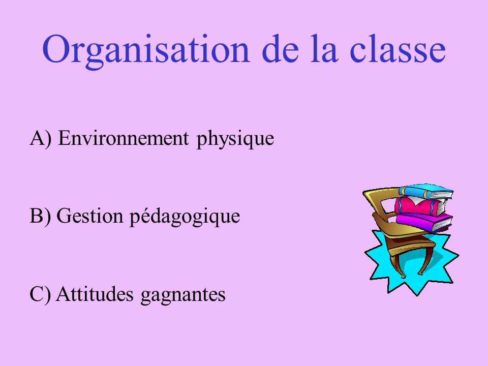 Organisation de la classe A) Environnement physique B) Gestion pédagogique C) Attitudes gagnantes