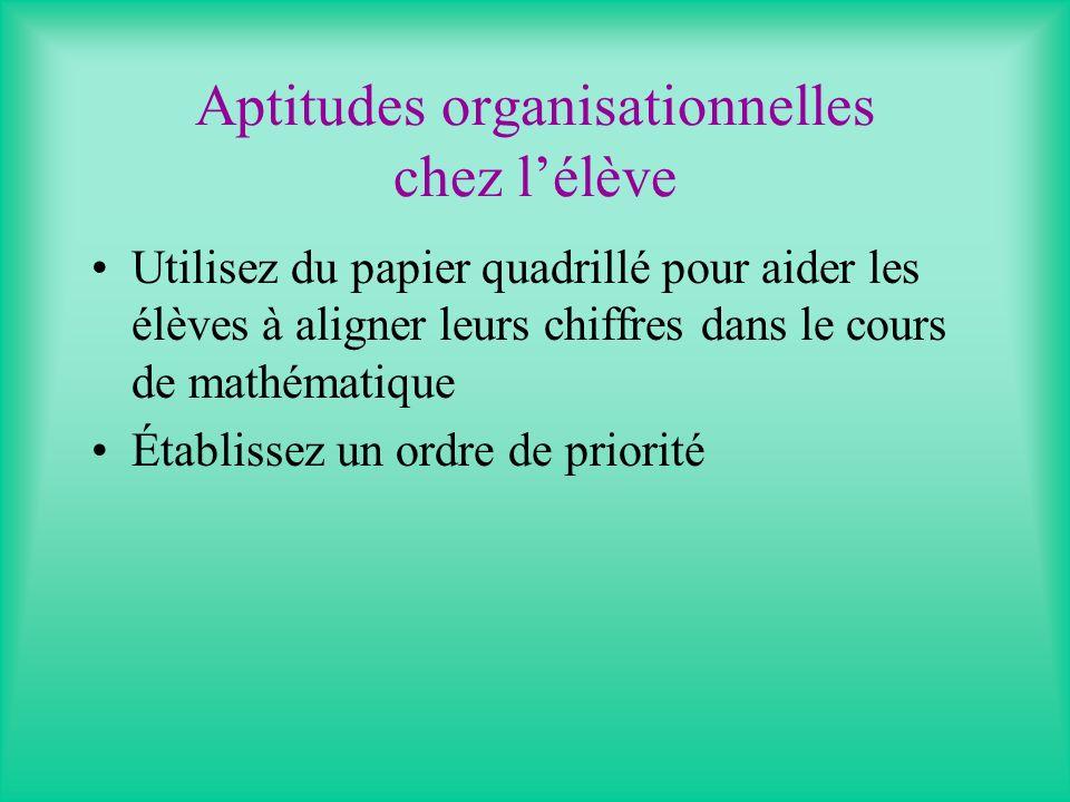 Aptitudes organisationnelles chez lélève Utilisez du papier quadrillé pour aider les élèves à aligner leurs chiffres dans le cours de mathématique Établissez un ordre de priorité