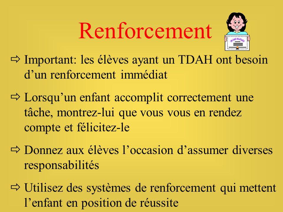 Renforcement Important: les élèves ayant un TDAH ont besoin dun renforcement immédiat Lorsquun enfant accomplit correctement une tâche, montrez-lui qu