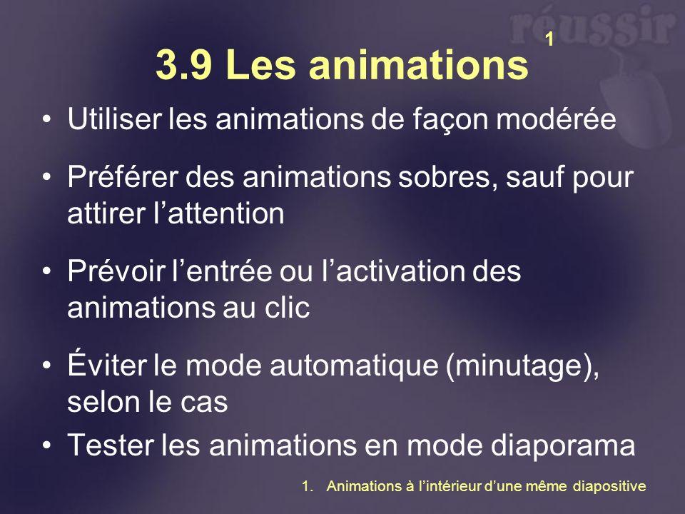 3.9 Les animations Utiliser les animations de façon modérée Préférer des animations sobres, sauf pour attirer lattention Prévoir lentrée ou lactivatio