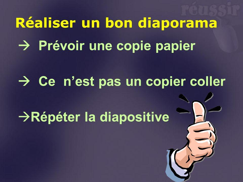 Prévoir une copie papier Ce nest pas un copier coller Répéter la diapositive