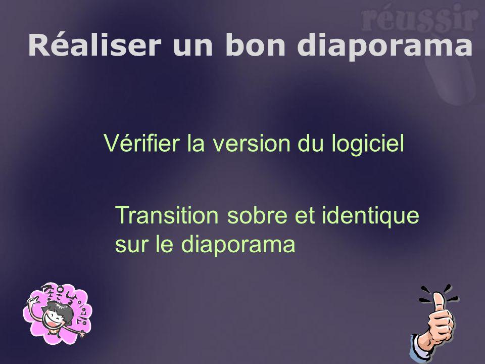 Réaliser un bon diaporama Vérifier la version du logiciel Transition sobre et identique sur le diaporama