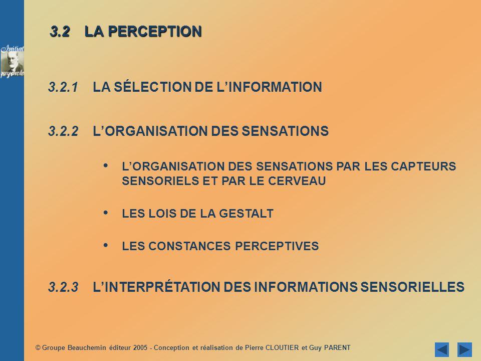 © Groupe Beauchemin éditeur 2005 - Conception et réalisation de Pierre CLOUTIER et Guy PARENT 3.2 LA PERCEPTION 3.2.1 LA SÉLECTION DE LINFORMATION 3.2