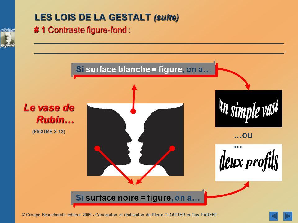 © Groupe Beauchemin éditeur 2005 - Conception et réalisation de Pierre CLOUTIER et Guy PARENT LES LOIS DE LA GESTALT (suite) # 1 Contraste figure-fond