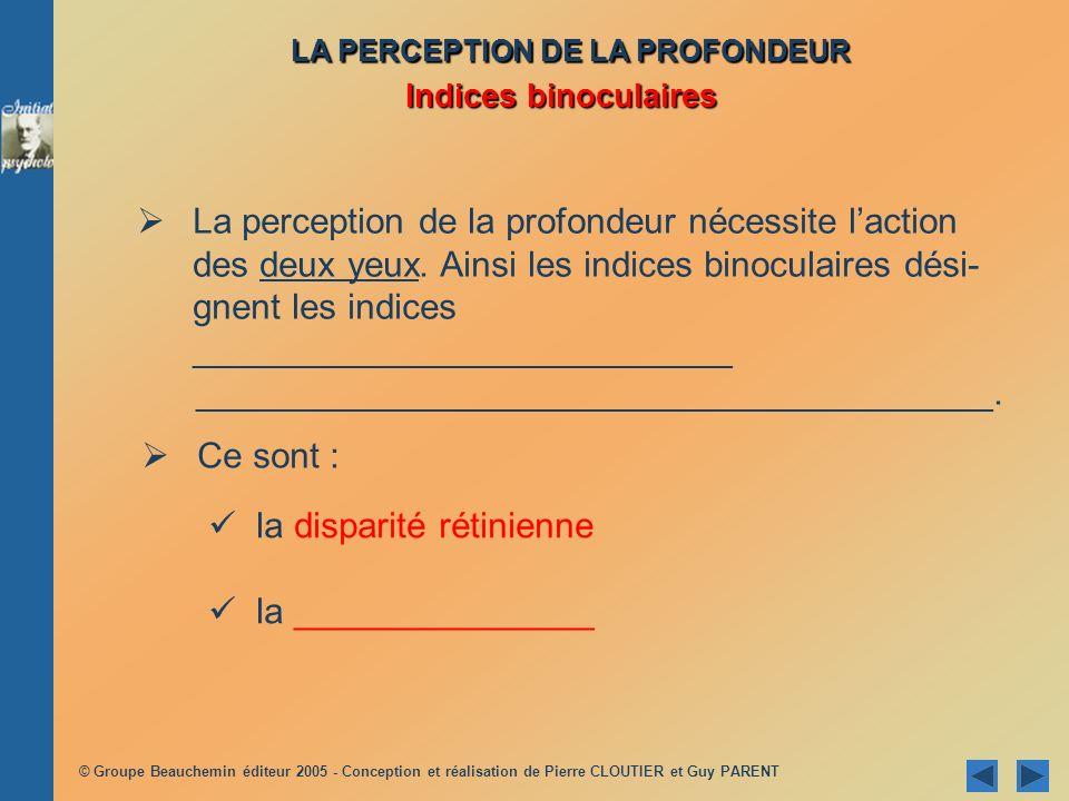 © Groupe Beauchemin éditeur 2005 - Conception et réalisation de Pierre CLOUTIER et Guy PARENT La perception de la profondeur nécessite laction des deu