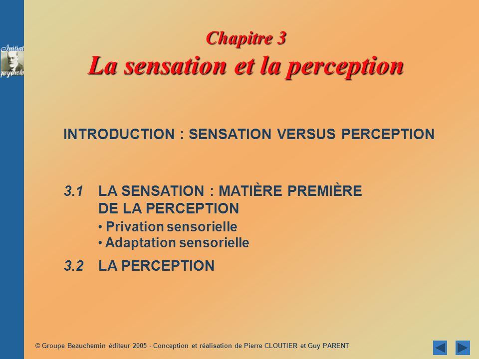 Chapitre 3 La sensation et la perception INTRODUCTION : SENSATION VERSUS PERCEPTION 3.1 LA SENSATION : MATIÈRE PREMIÈRE DE LA PERCEPTION 3.2 LA PERCEP