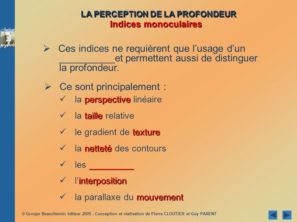 © Groupe Beauchemin éditeur 2005 - Conception et réalisation de Pierre CLOUTIER et Guy PARENT perspective la perspective linéaire taille la taille rel