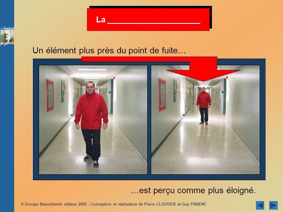 © Groupe Beauchemin éditeur 2005 - Conception et réalisation de Pierre CLOUTIER et Guy PARENT La _____________________ Un élément plus près du point d