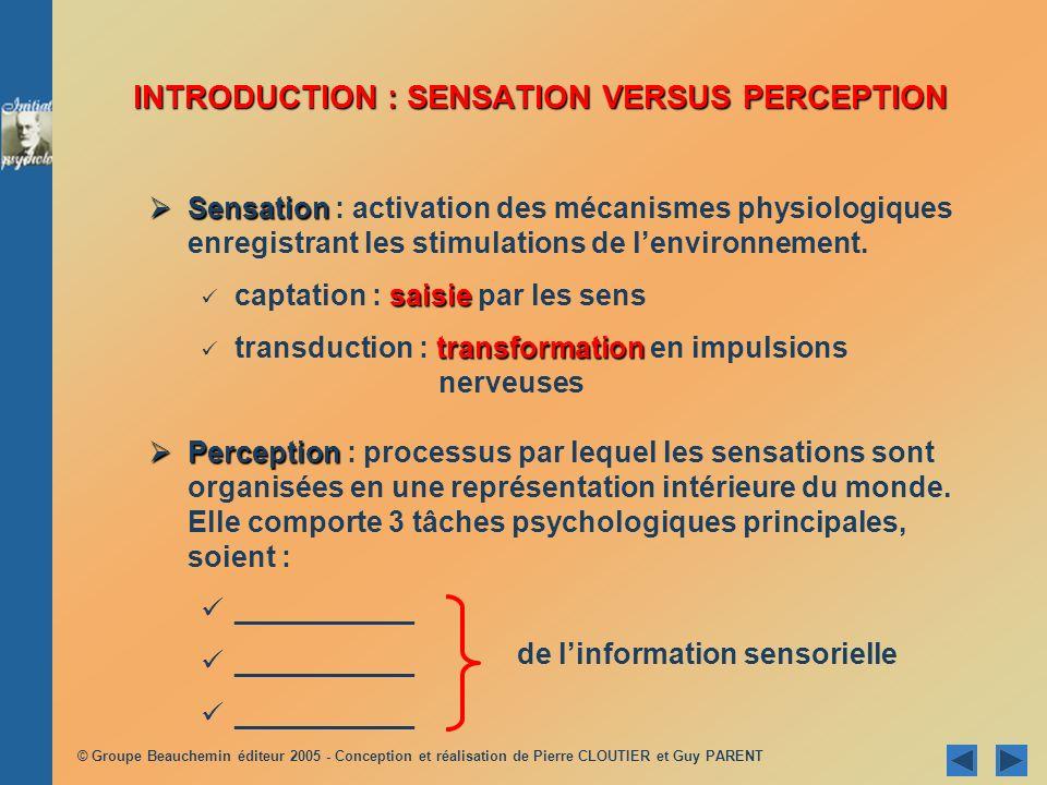 © Groupe Beauchemin éditeur 2005 - Conception et réalisation de Pierre CLOUTIER et Guy PARENT Perception Perception : processus par lequel les sensati