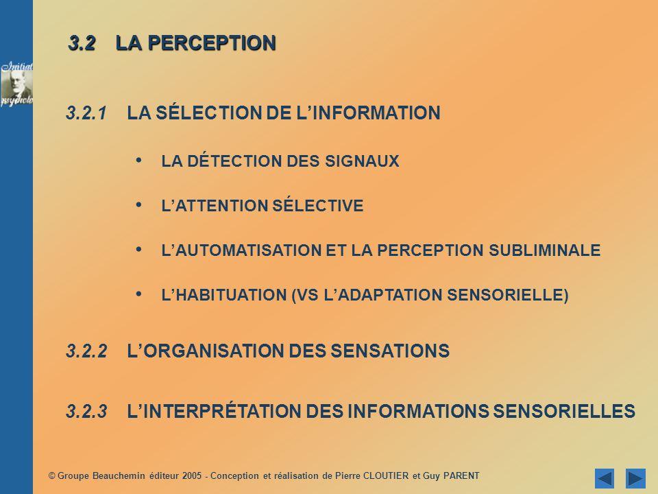 © Groupe Beauchemin éditeur 2005 - Conception et réalisation de Pierre CLOUTIER et Guy PARENT LATTENTION SÉLECTIVE LATTENTION SÉLECTIVE Lattention que la personne accorde, aux stimuli qui lentourent, varie selon leurs caractéristiques respectives : mouvement nouveauté nouveauté intensité et TAILLE caractère répétitif répétitif répétitif contraste contraste Lattention sélective est synonyme de concentration ______________ Exemple classique --> effet ______________ Deux tâches : enregistrer enregistrer les données sélectionnées éliminer éliminer les autres données Fonction de : __________________