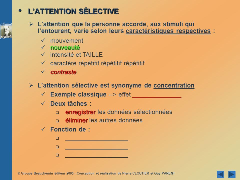 © Groupe Beauchemin éditeur 2005 - Conception et réalisation de Pierre CLOUTIER et Guy PARENT LAUTOMATISATION ET LA PERCEPTION SUBLIMINALE LAUTOMATISATION ET LA PERCEPTION SUBLIMINALE Automatisation : Automatisation : ___________________________________________________ ___________________________________________________ ___________________________________________________ Trois caractéristiques principales: économise les ressources de lattention sopère sans effort conscient ; traitement automatique des stimuli ; mécanisme automatique (ex.
