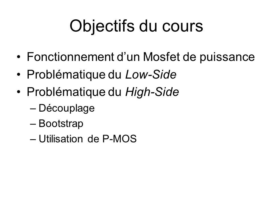 Objectifs du cours Fonctionnement dun Mosfet de puissance Problématique du Low-Side Problématique du High-Side –Découplage –Bootstrap –Utilisation de