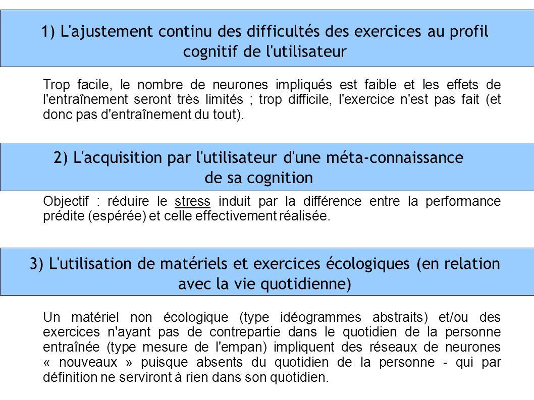1) L'ajustement continu des difficultés des exercices au profil cognitif de l'utilisateur 2) L'acquisition par l'utilisateur d'une méta-connaissance d