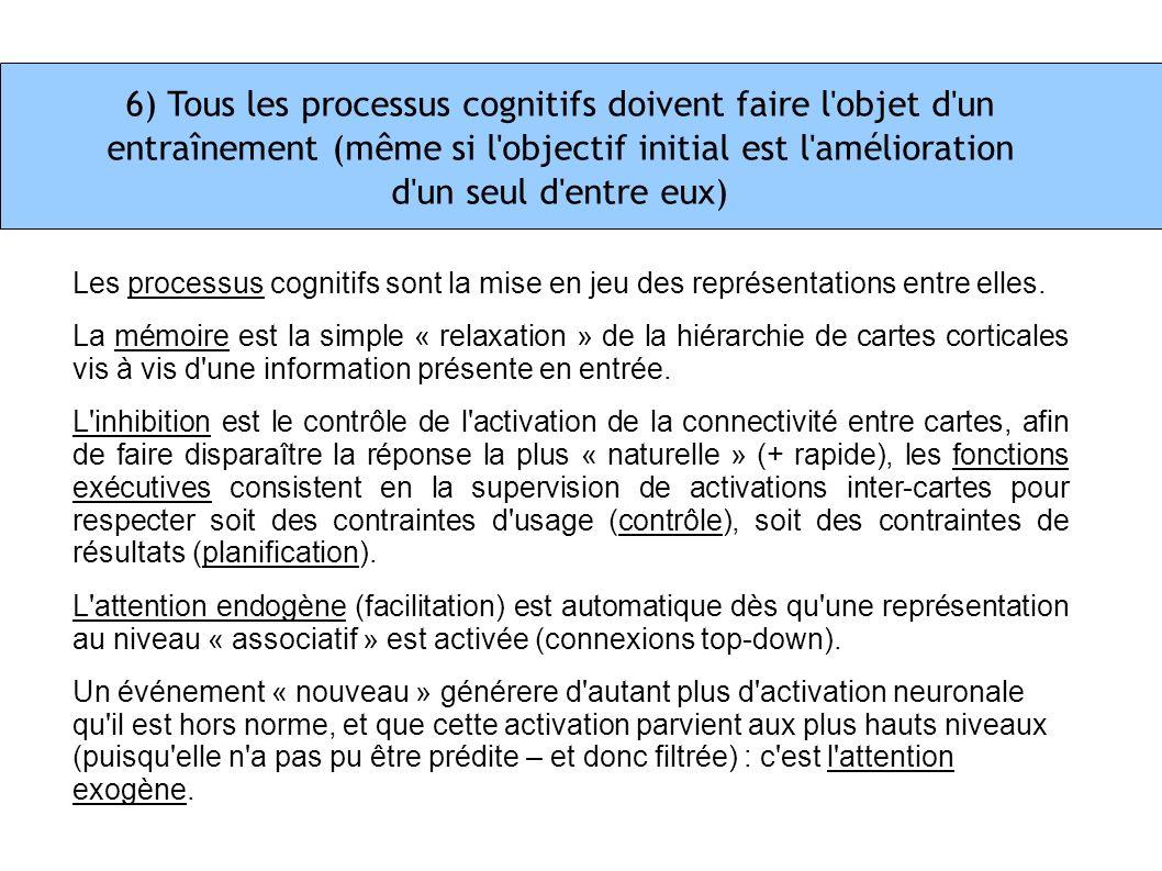 6) Tous les processus cognitifs doivent faire l'objet d'un entraînement (même si l'objectif initial est l'amélioration d'un seul d'entre eux) Les proc