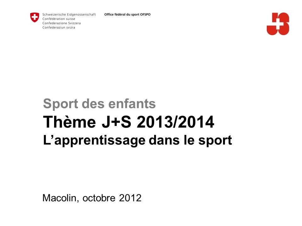 Sport des enfants Thème J+S 2013/2014 Lapprentissage dans le sport Macolin, octobre 2012